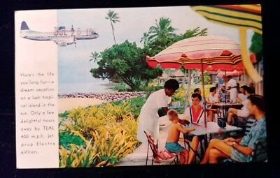 Fiji Postcard Issued By Teal Airlines For Prop Electra Flights 1962