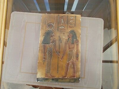"Ancient Egyptian Wall Tablet Plaque Ramses Tut Isis Anubis Horus 8"" By 5"""