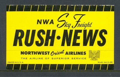Northwest Orient Airlines Vintage Freight Label