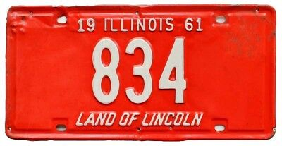 Colorful Illinois 1961 License Plate, 834, Low Number, 3-Digit, Garage Sign