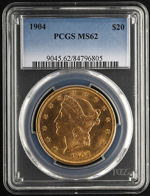 1904 $20 Liberty Head Gold Double Eagle - PCGS MS62 - Free Insured Shipping (a)