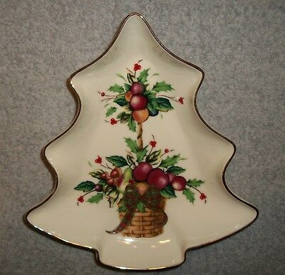 Lenox Holiday Tartan Dimemsion Collection Tree Design Candy Dish.