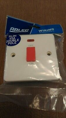 Alec Slim 45A Double Pole Switch With Neon Brand New