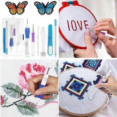 Embroidery Stitching Needle Magic DIY Sewing Weaving Clothing Punch Tool Set AU