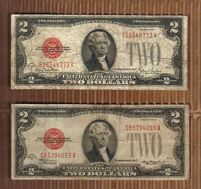 $2 1928 Two Dollar USA Legal Tender Note Red Seal Bill Old Paper Money Deuce