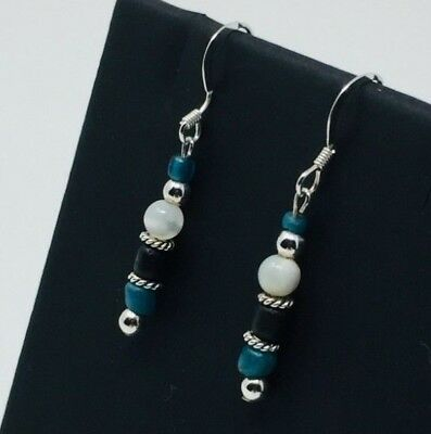 Ancient Roman Turquoise Glass Beads Restrung W/New Mix Drop/ Dangle Earrings