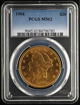1904 $20 Liberty Head Gold Double Eagle - PCGS MS62 - Free Insured Shipping (c)