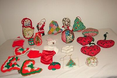 Vintage Kitsch Christmas Ornaments Lot Fabric Crafts Handmade Theme