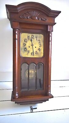 Handsome Antique Mahogany Sirenen Wall Clock, brass face and bevelled glass