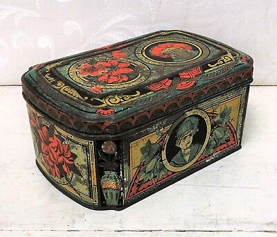 Rare 1887 Huntley & Palmers Wild Flowers Wildflowers Antique Biscuit Tin PATINA
