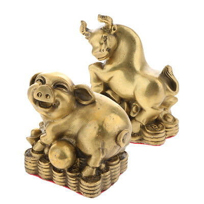 2pc China Fengshui Wealth Money Brass Zodiac Animal Statues Pig Ox Figurine