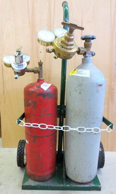 Oxygen/Acetylene tanks with gages and cart