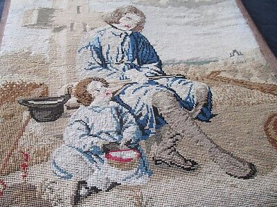 Old Antique Hand Embroidered Berlin Wool Work Framed Tapestry Picture Panel