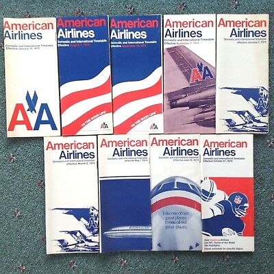 1973-1974 (9) American Airlines Timetables Vgc