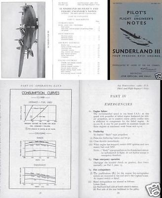 SHORT SUNDERLAND FLYING BOAT MANUALS mks I II III WWII RAF coastal command
