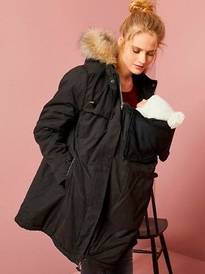 Maternity/ Baby Wearing Coat From Vertbaudet Super Warm Size 10 Black RRP £119.