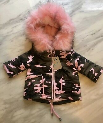 New Baby Girls Grey And Pink Camouflage Parka Coat With Faux Fur Age 6-9 Months