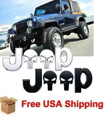 Chrome Jeep Punisher Car Body Emblem Metal Alloy Badge Sticker