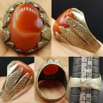 Medieval Carnelian Stone Old Beautiful Ring   # 7F