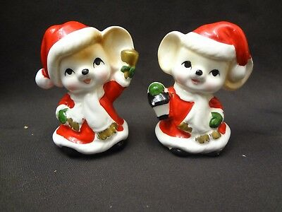 Norcrest Japan Vintage Mice Mouse  Set Salt And Pepper Shakers Christmas