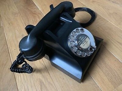Vintage Bakelite GPO 332L Dial Telephone (wired for BT socket) working Black