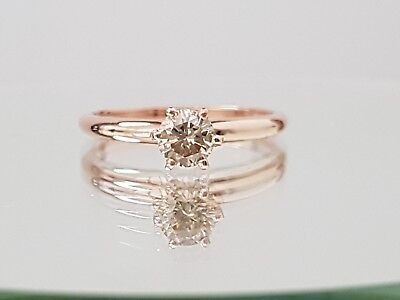 0.60ct ROUND CUT solitaire diamond engagement Ring 14K ROSE GOLD K COLOR SI2