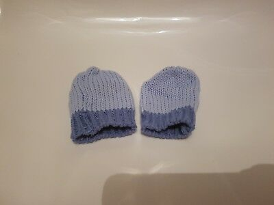Baby Boys Blue Knitted Winter Mittens Gloves Age 12-18 Months