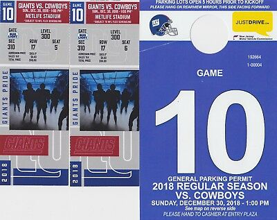 New York Giants vs. Dallas Cowboys 12/30/18 - 2 Tickets & Parking Pass