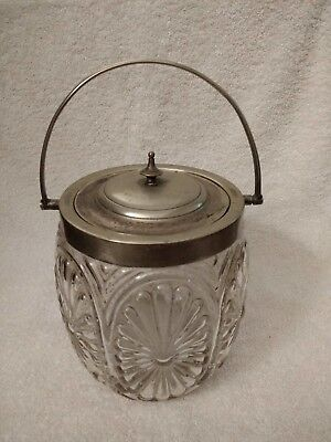 Antique Vintage Glass Biscuit Barrel With Silver Plated Lid And Handle