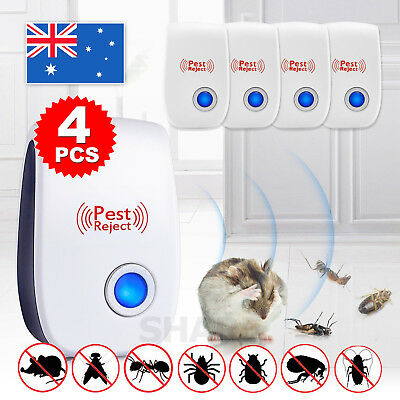 4X Pest Repeller Reject Ultrasonic Electronic Mouse Rat Mosquito Insect Contr-I