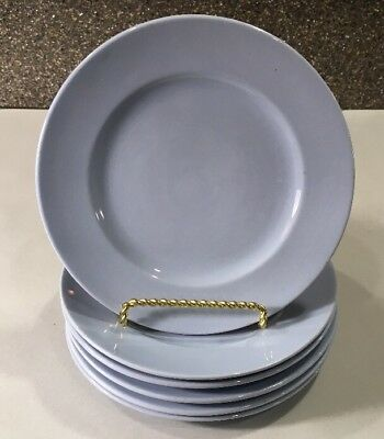 6 Buffalo China Blue Lune 6.25 Inch Plates Vintage Restaurant Ware Made In USA