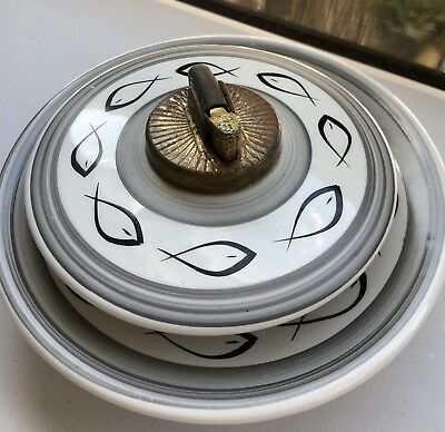 Evans Lighter & Ashtray Vintage MC Modern Atomic Fish Black White Bone China