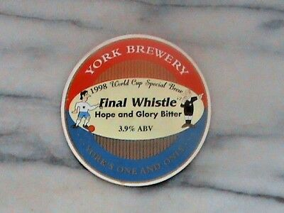 York Final Whistle real ale beer pump clip sign 1998 World Cup Brew