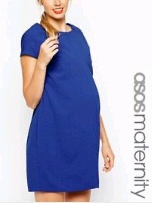 ASOS Royal COBALT BLUE Maternity Dress 10 DAY TO EVENING LBD cap sleeves ELEGANT