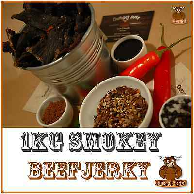 BEEF JERKY SMOKEY 1KG HEALTH FOOD Hi PROTEIN LOW CARB PRESERVATIVE FREE