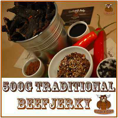 BEEF JERKY TRADITIONAL 500G Hi PROTEIN LOW CARBOHYDRATE PRESERVATIVE FREE SNACK