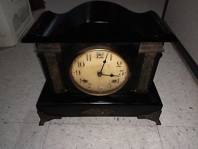WATERBURY eight day WOODEN MANTLE CLOCK. Two bells, runs.