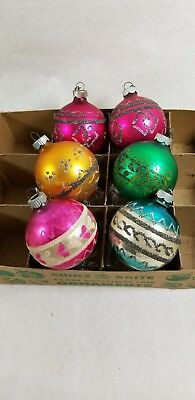 Vintage Shiny Brite Ornaments LOT of 6 Mica Glitter Gold Pink Green Blue Silver