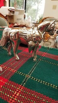 "Vintage Silver Colored Pot Metal Western Horse Statue Figure 4 1/2"" T x 6"" L"