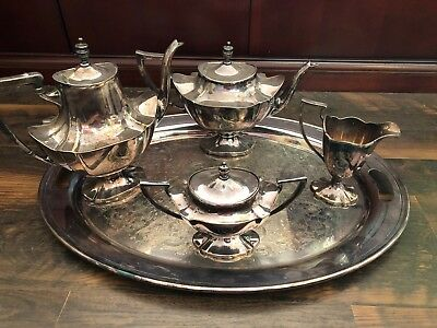 Antique Lawrence B. Smith Co. Silver Plated Tea and Coffee set 1417 S.Fine EPNS