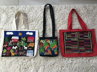 NEW Handmade Colombian Grocery Sewn Bags Lot 3 Reusable Zipper Tote Canvas