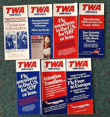 1981 (7) TWA Trans World Airlines TIMETABLES 747   L-1011