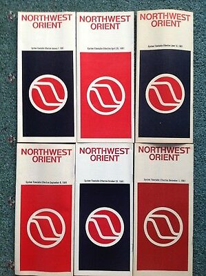 1981 (6) Northwest Orient Airlines Timetables