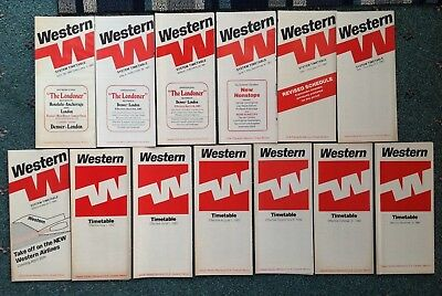 1980-1982 (13) WESTERN AIRLINES TIMETABLES Boeing 737