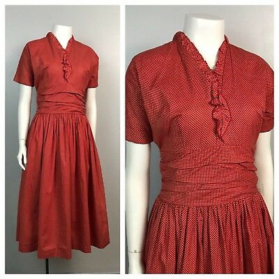 Vintage 1950s Red and White Micro Polka Dot Fit and Flare Cotton Dress S/S S