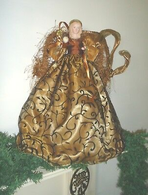 """XMAS TREE Topper Victorian Gown Gold Tone Metal Wings Fringe Feathers 18"""" T 16""""w"""