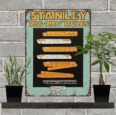 1920s Stanley Tools Zig Zag Rules Advertising Baked Metal Repro Sign 9x12 60185