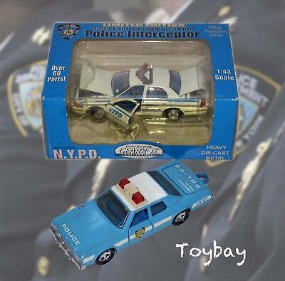 2 NYPD Police Cars ~ Gearbox 1999 Ford Crown Vic ~ Matchbox Super Kings Plymouth