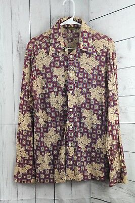 "VINTAGE 70's ""Mister Guy"" Mens Large Button Front Shirt RARE BRAND Floral Retro"