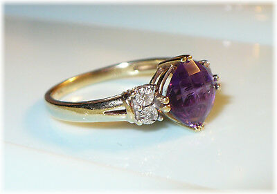 Vintage Gold ring Cushion cut Amethyst with Accents  NICE!
